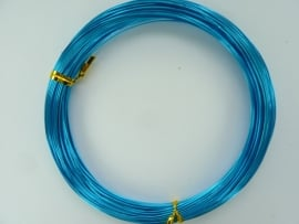 DH460115/23- 25 meter aluminiumdraad (wire&wire) 0.7mm dik blauw/turquoise