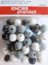 6013  011 - 50 stuks 10 mm. houten kralen zwart/wit mix
