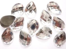 12 stuks kunststof strass stenen druppelvorm zilver 25x18mm - SUPERLAGE PRIJS!