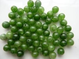 3941- ca. 60 stuks naturel Jade mineraal kralen van 6mm midden groen - SUPERLAGE PRIJS!