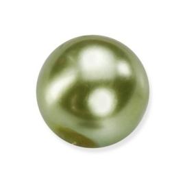 25 x ronde glasparels in een doosje 8mm mosgroen - 2219 740