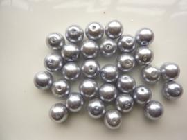 2168- 30 stuks glasparels van 10mm lichtgrijs - SUPERLAGE PRIJS!