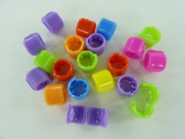 2609- 20 stuks pony beads / haarclip kralenmix 9x7mm 20