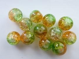 4089- 12 stuks qraccle glaskralen van 10mm oranje/lichtgroen