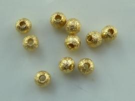 CH.247- 10 stuks metalen stardust kralen 4mm goudkleur - SUPERLAGE PRIJS!