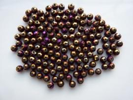 3917- ca. 145 stuks geslepen glaskralen van 4x3mm paars AB goudplated - SUPERLAGE PRIJS!