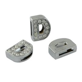 letter D - leerschuiver met strass steentjes zilver 13mm