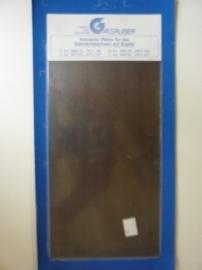 AZ.226- koperplaat gebruineerd voor etsen en graveren 15x29cm OPRUIMING