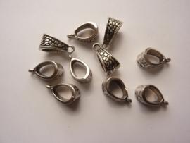 CH.385- 10 stuks metalen ketting hangers ( bails ) 14.5x7.5mm antiek zilver - SUPERLAGE PRIJS!
