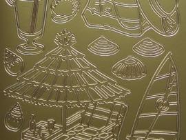 st714- sticker met troposche afbeeldingen vakantie goud 10x20cm