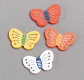 8002 622- 15 stuks decoratie houten vlinders in 4 kleuren van 2cm