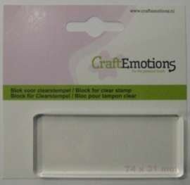 CE130501/1913- Craft Emotions acrylblok voor clearstamps 74x31mm
