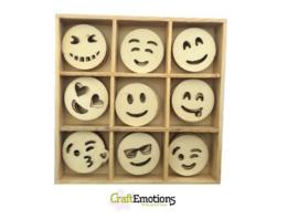 CE811500/0233- 45 stuks houten ornamentjes in een doosje smileys 10.5x10.5cm