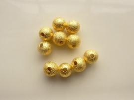 CH.EC225.G- 10 stuks metalen stardust kralen 8mm goudkleur