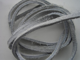 echte suede veter 3mm plat licht grijs