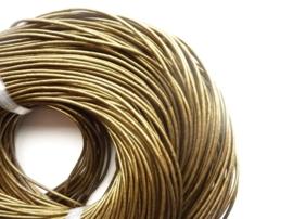 CH.030- 3 meter leren veter parelmoer brons 2mm dik AA kwaliteit - SUPERLAGE PRIJS!