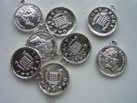 10 x muntjes met oog 15mm zilver 117465/0856KA