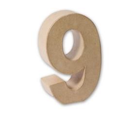 1929 3139- eco shape stevige decoratie cijfer van papier mache - 3D cijfer 9