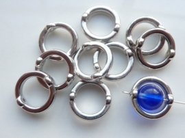 CH.485- 10 stuks licht  metalen kralen voor om kraal heen 16mm zilver - SUPERLAGE PRIJS!