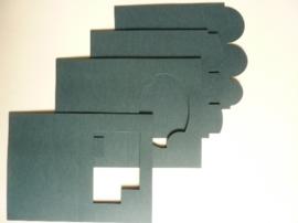 007961F- 12 stuks dubbele kaarten donkergroen/blauw OPRUIMING