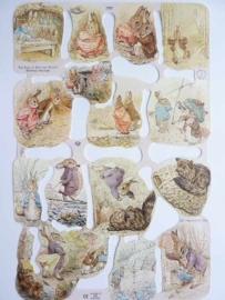 """p0015072- nostalgisch pöezie plaatje """"Peter rabbit/Beatrix Potter"""" 24x15cm"""