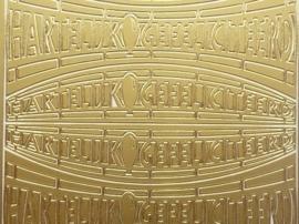 ST.1132- hartelijk gefeliciteerd goud 10x20cm