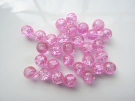4057- 30 stuks qraccle glaskralen van 8mm roze