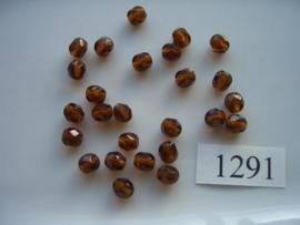 25 stuks tsjechische kristal facet geslepen glaskralen  bruin 6x5mm 1291