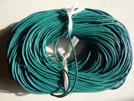 100 meter echt leren veter aqua blauw van 2mm dik - AA kwaliteit - SUPERLAGE PRIJS!
