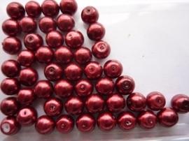 2158- ca. 50 x glasparels 8mm donkerrood - SPECIALE PRIJS!