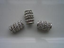 3 x metalen kralen busjes met spikkels 14x9mm 117464/0017