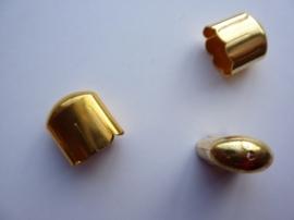 00157G- 2 stuks ovale koordkapjes van 16x9mm goudkleur OPRUIMING