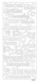 st837- stickervel met diverse liefdes teksten goud 10x23cm  -  121001/0483
