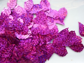 10gram (ca. 120 stuks) pailletten blaadjes 24x13mm cerise glitter