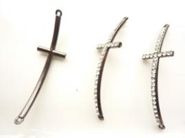 CH.390.A- metalen armband ornament kruis 55x15mm antraciet SUPERLAGE PRIJS!