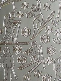st978- stickervel met mannetjes op skies 10x23cm zilver