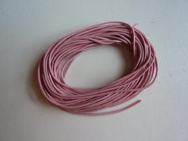5 meter echt leren veter 1mm dik  roze