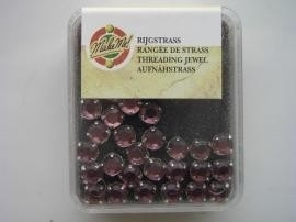107007/0004- 12 stuks glazen rijg/naai strass steentjes 7mm rond kristal amethyst