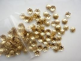 200 x kralenkapjes 7mm goud - SUPERLAGE PRIJS! CH.05-200