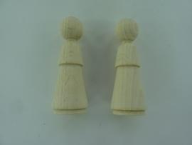 3000 870- 10 stuks houten kegelpopjes van 7cm