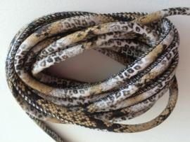 PU.01- 3 meter imitatieleren koord slangen- & tijgerprint naturel 4mm