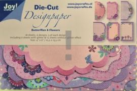 JOY8011/0504- 18 stuks Die-Cut design papers butterflies and flowers 10.2x15.3xm