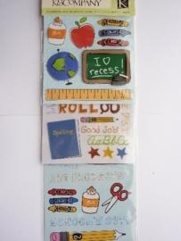 "5617- 3 stickervellen K&Co flippuck ""school"" 12x30cm"