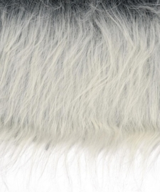 8411 646- lap van 20x35cm pluche / imitatie bont langharig zilvergrijs