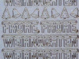 st1052- parelmoer- glitterstickervel met Duitse tekst Frohe Weinachten 10x20cm