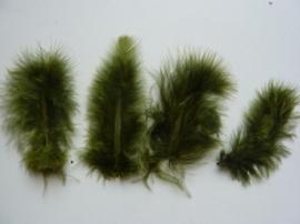 CE800804/2813- 15 stuks Marabou veren olijfgroen van 7 tot 14cm