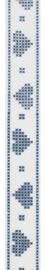 CE542194/2248- 15 meter lint met geborduurde hartjes 22mm breed