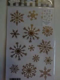 005006.C- Rub-on transfer snowflakes goud 24x14cm OPRUIMING