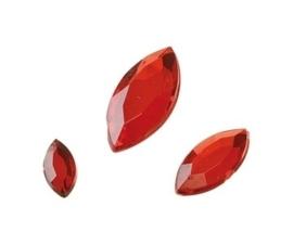 2282 520- 120 x kunststof strass stenen assortiment spitsovaal 10/15/20mm lang rood
