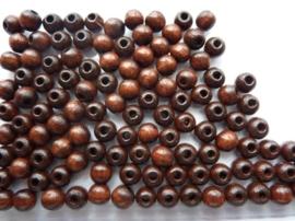 6010 679 - 125 stuks houten kralen van 6mm donkerbruin